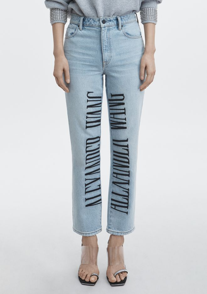 ALEXANDER WANG CULT LOGO EMBROIDERED JEAN DENIM Adult 12_n_a