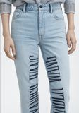 ALEXANDER WANG CULT LOGO EMBROIDERED JEAN DENIM Adult 8_n_d