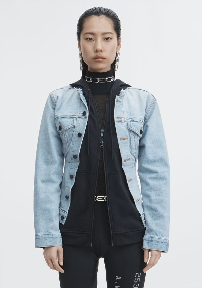 ALEXANDER WANG MIX HYBRID JACKET DENIM Adult 12_n_a