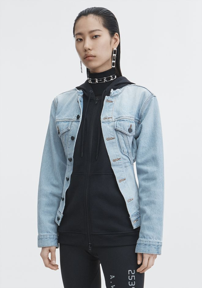 ALEXANDER WANG MIX HYBRID JACKET DENIM Adult 12_n_d