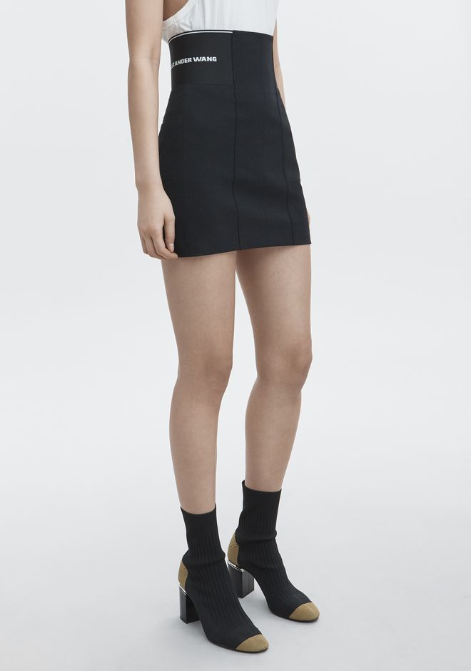 T by ALEXANDER WANG MINI SKIRT WITH LOGO ELASTIC ROCK Adult 12_n_e