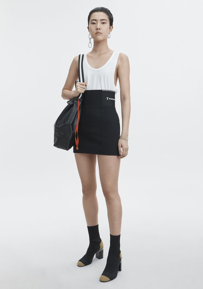 T by ALEXANDER WANG MINI SKIRT WITH LOGO ELASTIC ROCK Adult 12_n_f