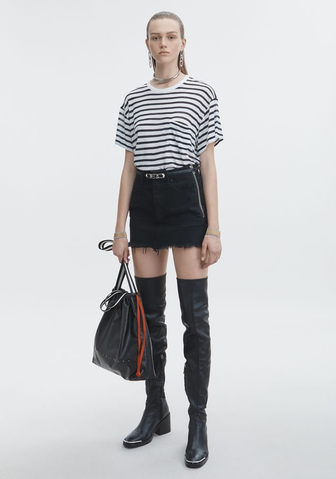 ALEXANDER WANG denim-x-aw DESTROYED MINI SKIRT