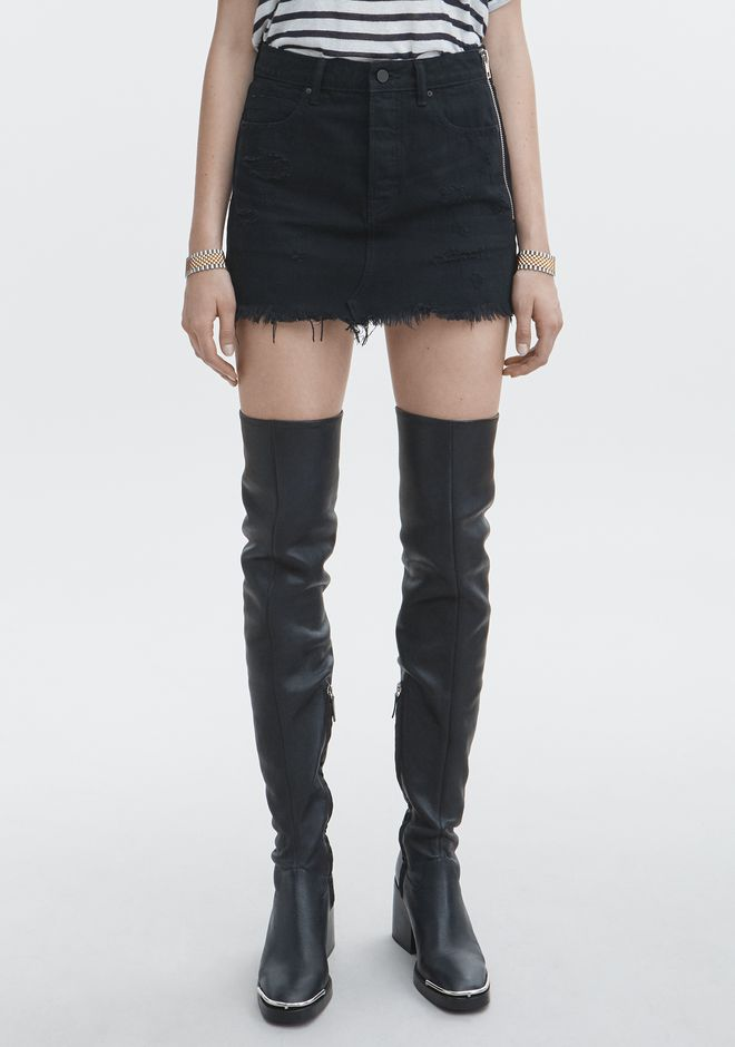 ALEXANDER WANG DESTROYED MINI SKIRT DENIM Adult 12_n_a