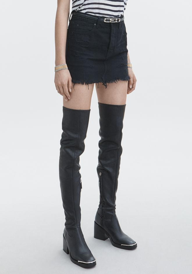 ALEXANDER WANG DESTROYED MINI SKIRT DENIM Adult 12_n_e