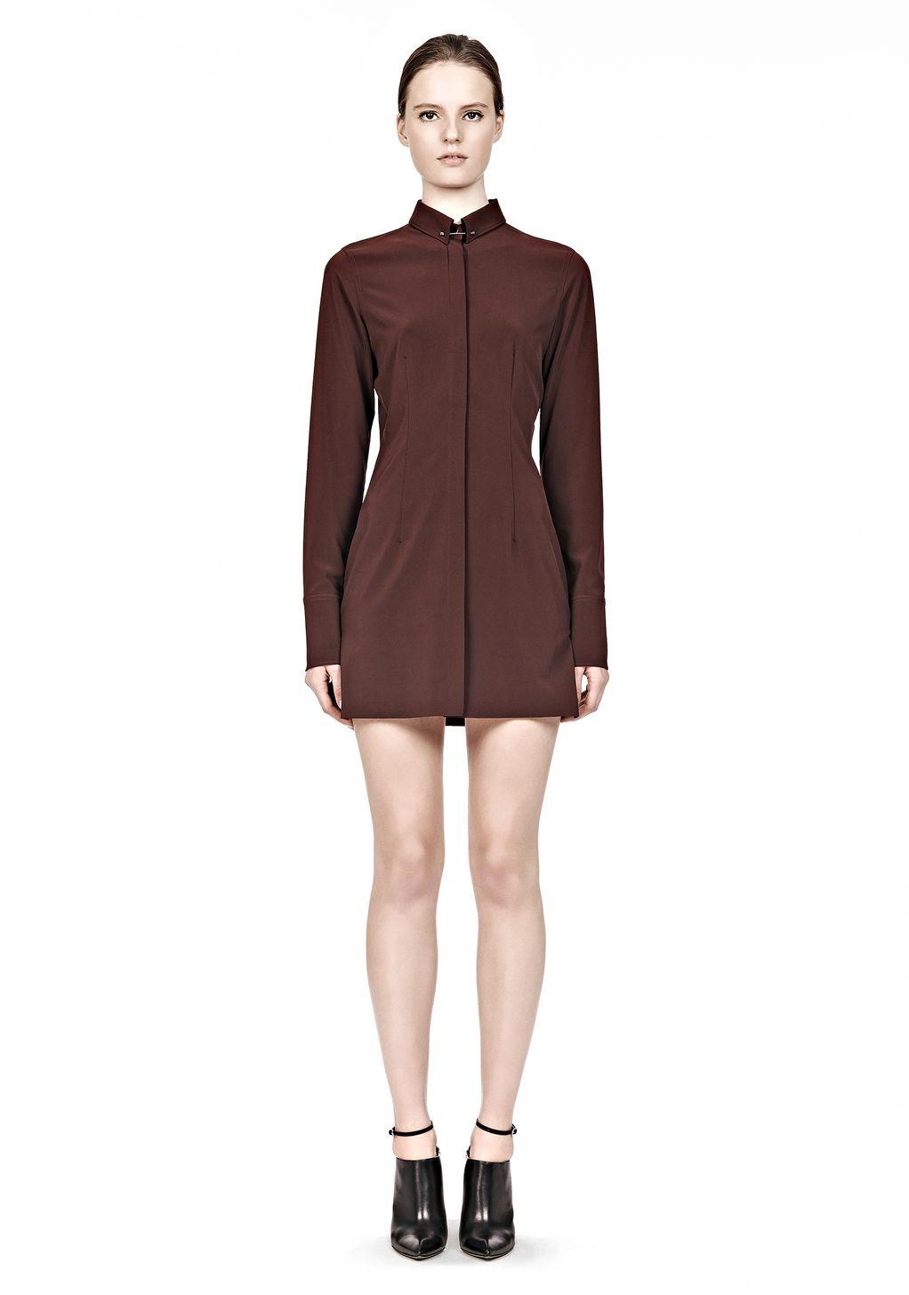 alexander wang fitted shirt dress with collar pin short dres