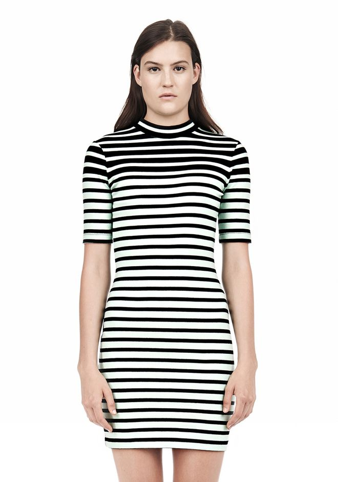 T by ALEXANDER WANG COMPACT COTTON ENGINEERED STRIPE SHORT SLEEVE DRESS Short Dress Adult 12_n_d