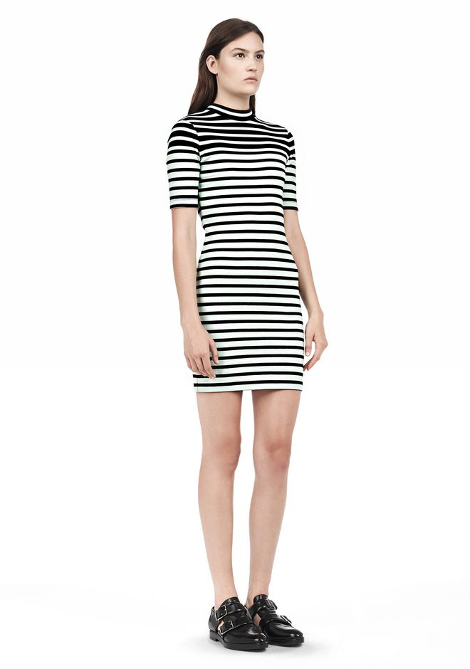 T by ALEXANDER WANG COMPACT COTTON ENGINEERED STRIPE SHORT SLEEVE DRESS Short Dress Adult 12_n_e