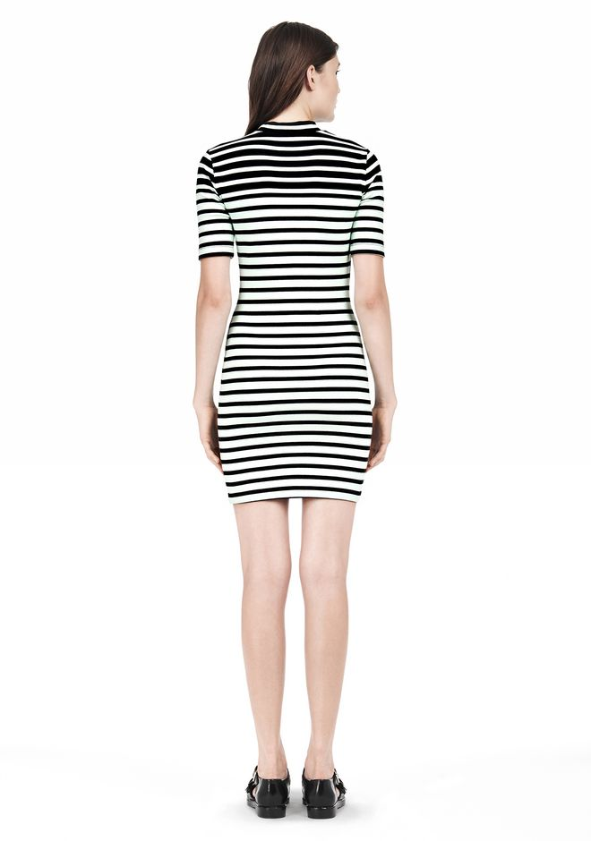 T by ALEXANDER WANG COMPACT COTTON ENGINEERED STRIPE SHORT SLEEVE DRESS Short Dress Adult 12_n_r
