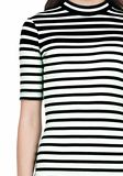 T by ALEXANDER WANG COMPACT COTTON ENGINEERED STRIPE SHORT SLEEVE DRESS Short Dress Adult 8_n_a