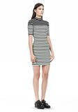 T by ALEXANDER WANG COMPACT COTTON ENGINEERED STRIPE SHORT SLEEVE DRESS Short Dress Adult 8_n_e