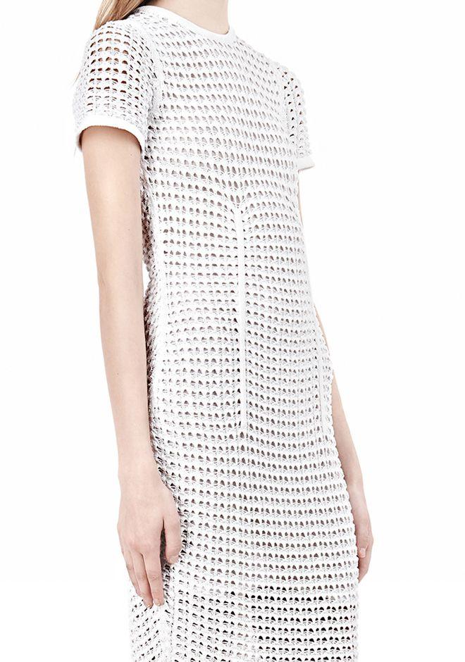 ALEXANDER WANG FITTED CROCHET TEE DRESS KNIT DRESS Adult 12_n_a