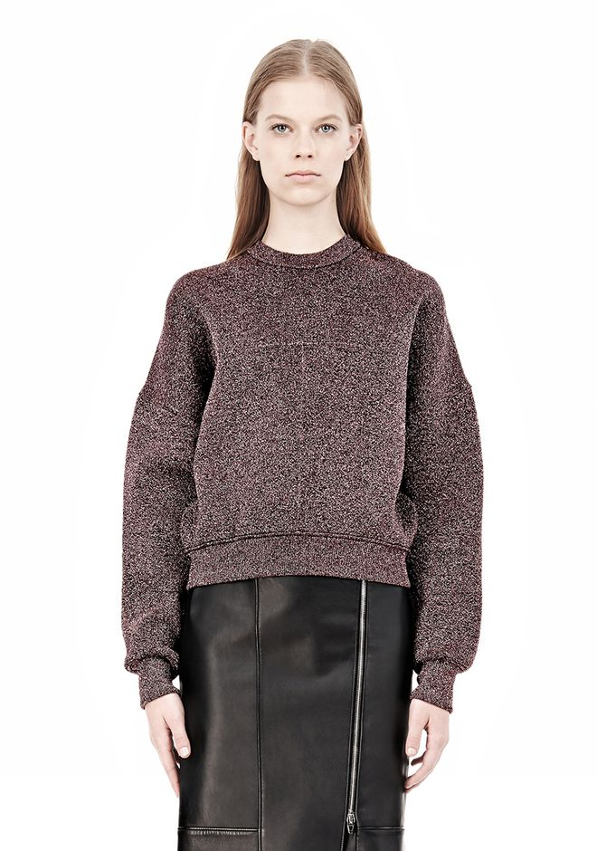 ALEXANDER WANG OVERSIZED LUREX SWEATSHIRT WITH PINTUCK DETAIL Crewneck Adult 12_n_e
