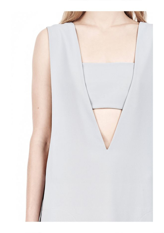 T by ALEXANDER WANG POLY CREPE LOW V-NECK DRESS WITH BANDEAU INSERT Short Dress Adult 12_n_a