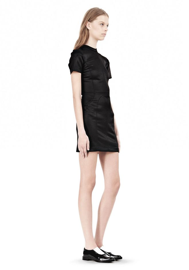 T by ALEXANDER WANG SHINY DOUBLE KNIT MOCK NECK SCUBA DRESS Short Dress Adult 12_n_e
