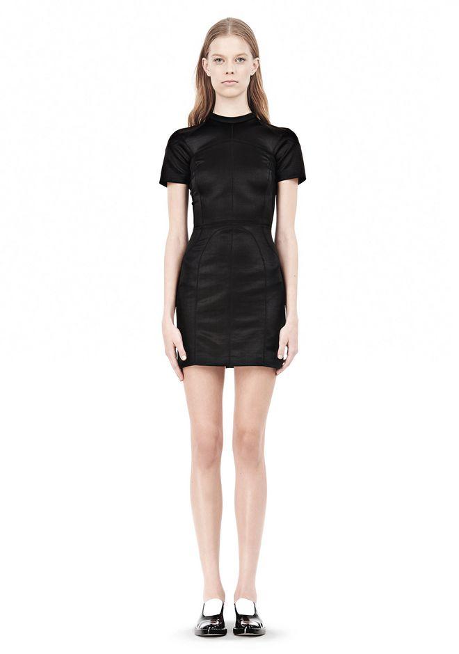 T by ALEXANDER WANG SHINY DOUBLE KNIT MOCK NECK SCUBA DRESS Short Dress Adult 12_n_f