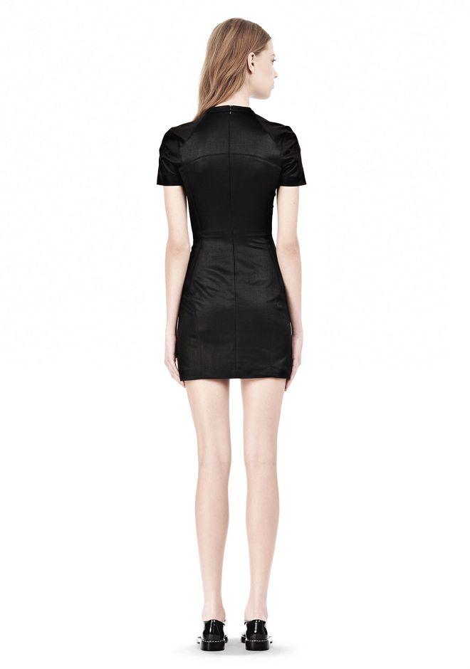 T by ALEXANDER WANG SHINY DOUBLE KNIT MOCK NECK SCUBA DRESS Short Dress Adult 12_n_r