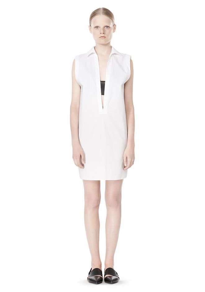 T by ALEXANDER WANG LOW V-NECK COLLARED SLEEVELESS TUNIC Short Dress Adult 12_n_f