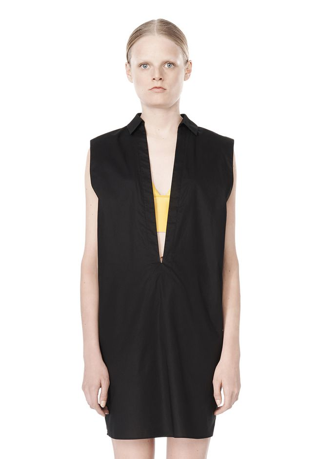 T by ALEXANDER WANG LOW V-NECK COLLARED SLEEVELESS TUNIC Short Dress Adult 12_n_d