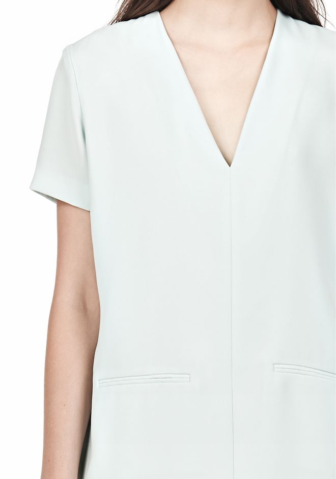 T by ALEXANDER WANG DRAPE SUITING VNECK DRESS Short Dress Adult 12_n_d