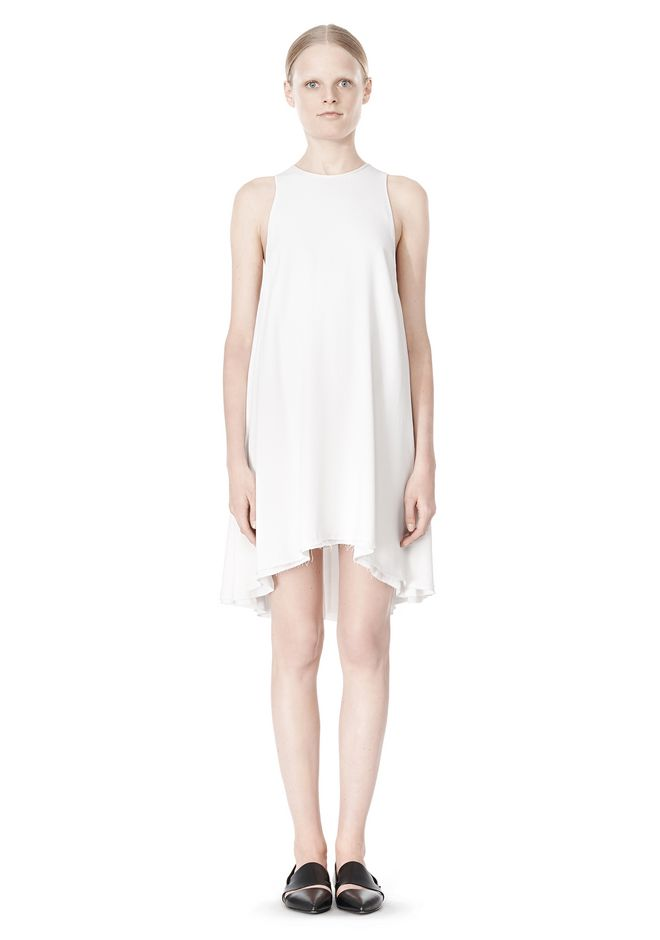 T by ALEXANDER WANG VISCOSE CREPE DRESS WITH LEATHER TRIM Short Dress Adult 12_n_f