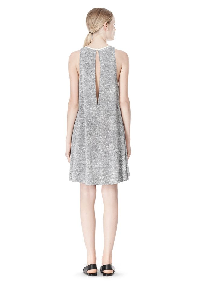 T by ALEXANDER WANG VISCOSE CREPE DRESS WITH LEATHER TRIM Short Dress Adult 12_n_r