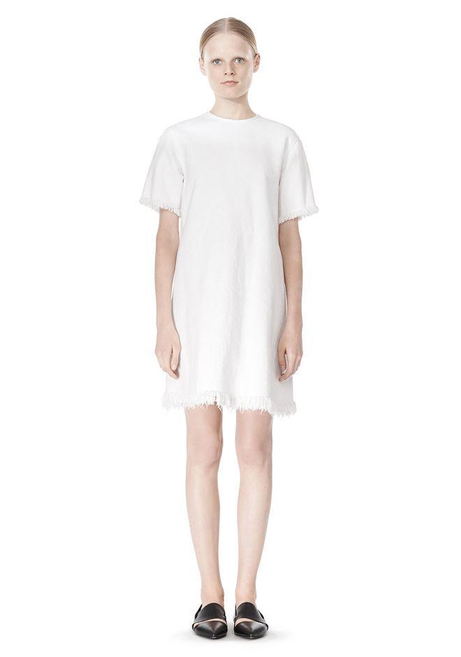 T by ALEXANDER WANG COTTON CREWNECK DRESS WITH FRAYED HEM Short Dress Adult 12_n_f