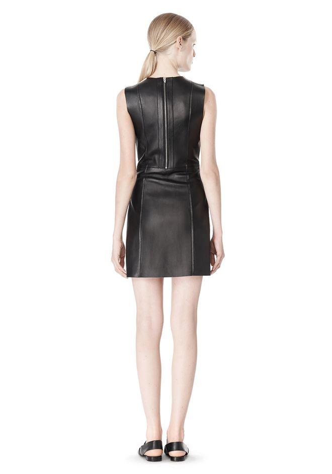 T by ALEXANDER WANG RAW EDGE SLEEVELESS LEATHER SHIFT DRESS Short Dress Adult 12_n_r