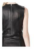 T by ALEXANDER WANG RAW EDGE SLEEVELESS LEATHER SHIFT DRESS Short Dress Adult 8_n_a