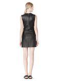 T by ALEXANDER WANG RAW EDGE SLEEVELESS LEATHER SHIFT DRESS Short Dress Adult 8_n_r