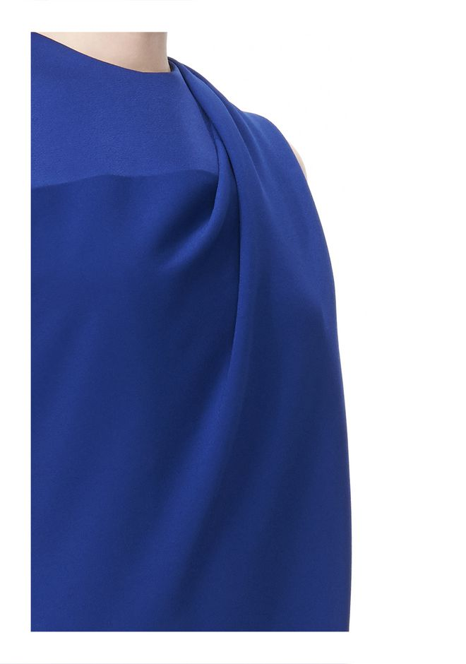 ALEXANDER WANG EXCLUSIVE DRAPED CREW NECK DRESS WITH SATIN YOKE Short Dress Adult 12_n_a