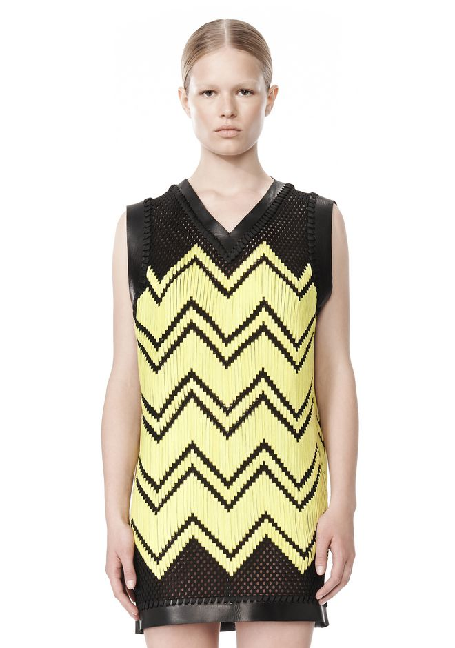 ALEXANDER WANG V-NECK DRESS WITH SHOE LACE EMBROIDERY Short Dress Adult 12_n_d