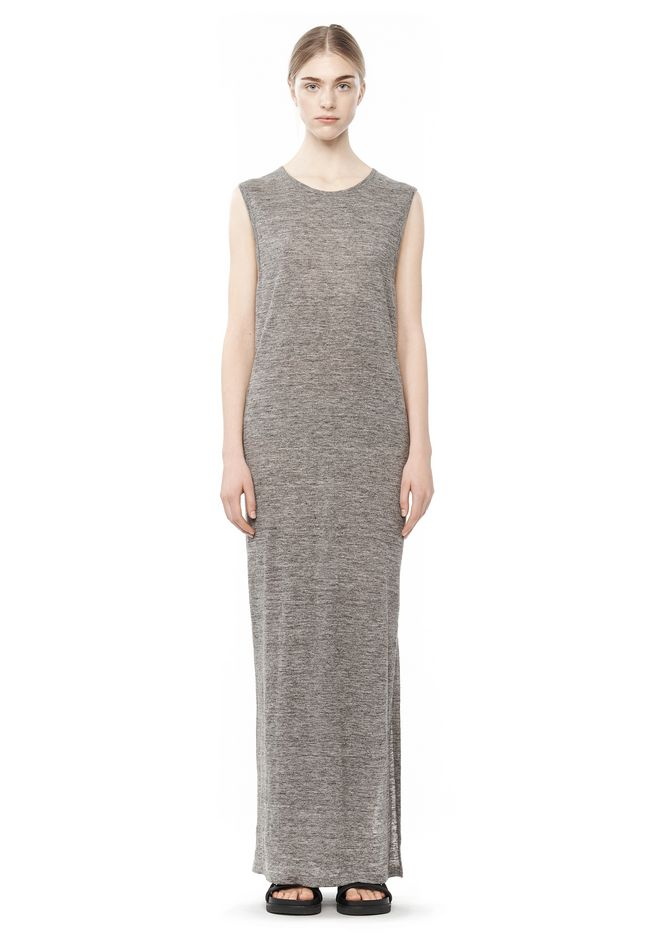Alexander Wang LONG LINEN JERSEY MUSCLE DRESS KNIT DRESS |Official Site