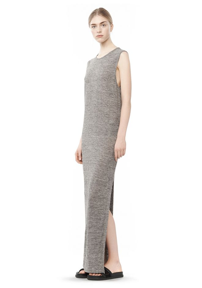Alexander Wang LONG LINEN JERSEY MUSCLE DRESS KNIT DRESS | Official Site