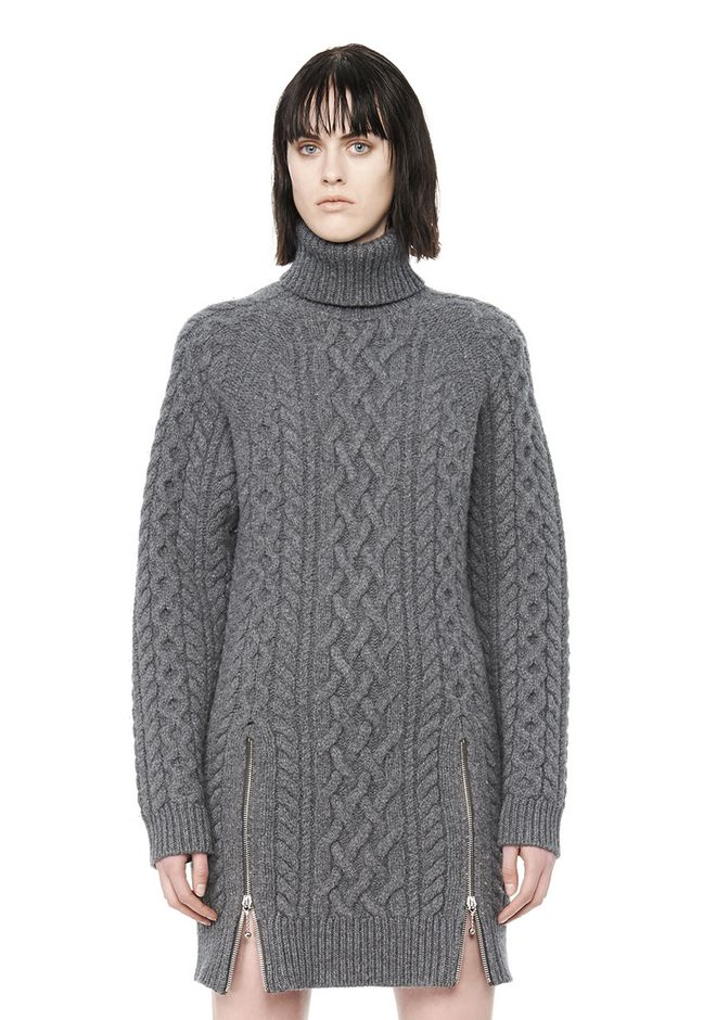 Alexander Wang Cable Knit Turtleneck Dress Knit Dress