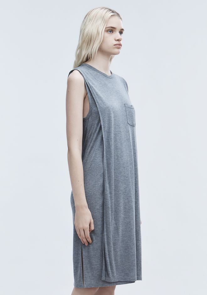 T by ALEXANDER WANG CLASSIC OVERLAP DRESS WITH POCKET 中长款连衣裙 Adult 12_n_a