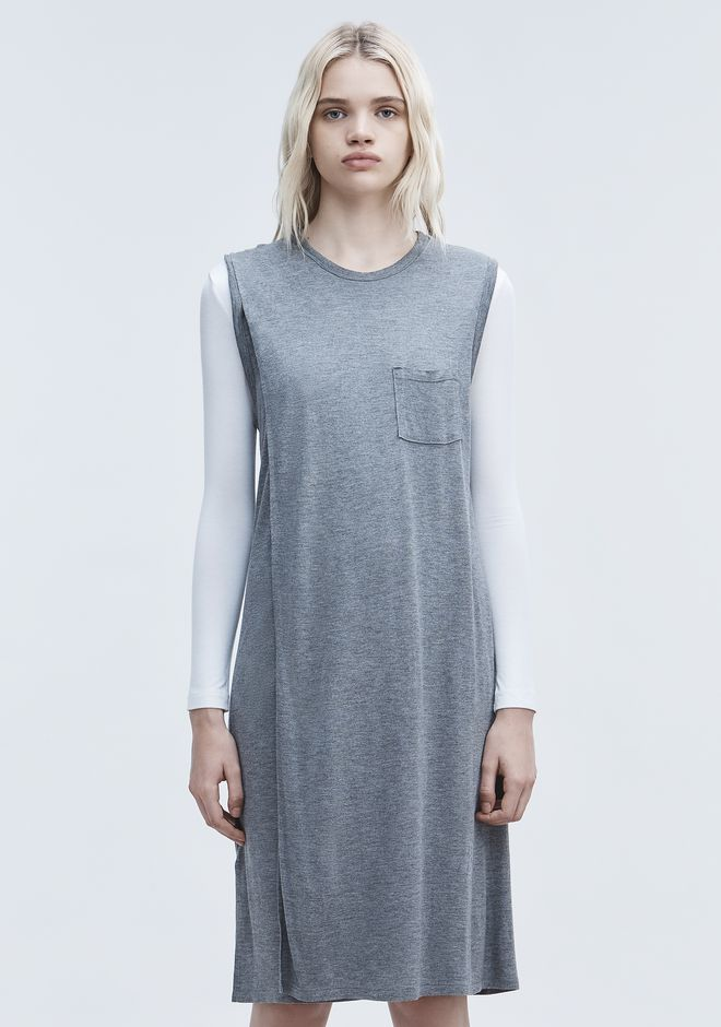 T by ALEXANDER WANG CLASSIC OVERLAP DRESS WITH POCKET 3/4 length dress Adult 12_n_d