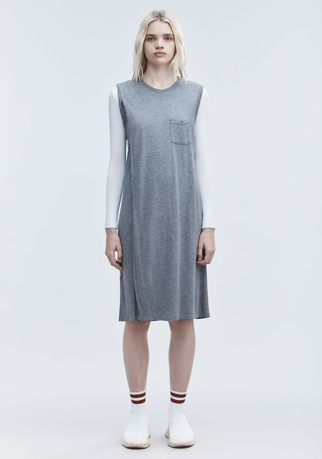 T by ALEXANDER WANG CLASSIC OVERLAP DRESS WITH POCKET 中长款连衣裙 Adult 12_n_f