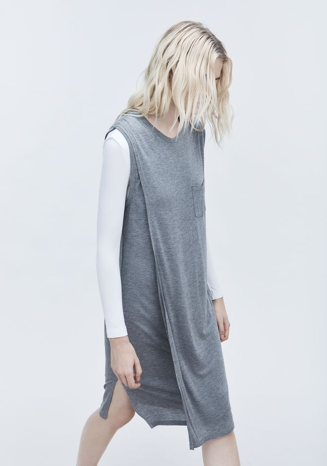 T by ALEXANDER WANG CLASSIC OVERLAP DRESS WITH POCKET 中长款连衣裙 Adult 12_n_r