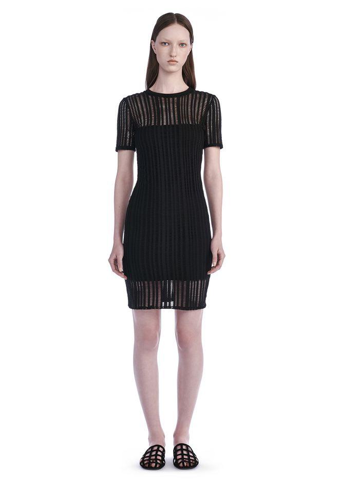 T By Alexander Stretch Jacquard Short Sleeve Dress 12 N F