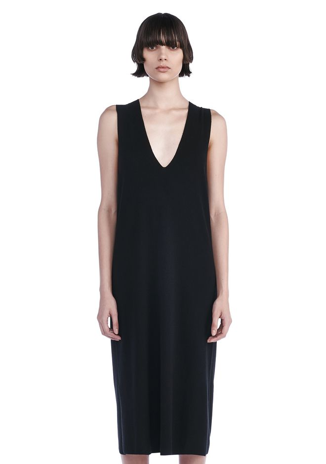 ... T by ALEXANDER WANG DEEP V-NECK SLEEVELESS DRESS Long dress Adult  12_n_e ...