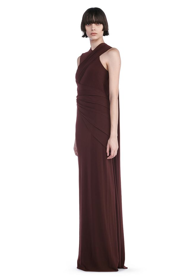 Alexander Wang ASYMMETRIC DRAPED GOWN WITH BACK CUT OUT 3/4 Length ...