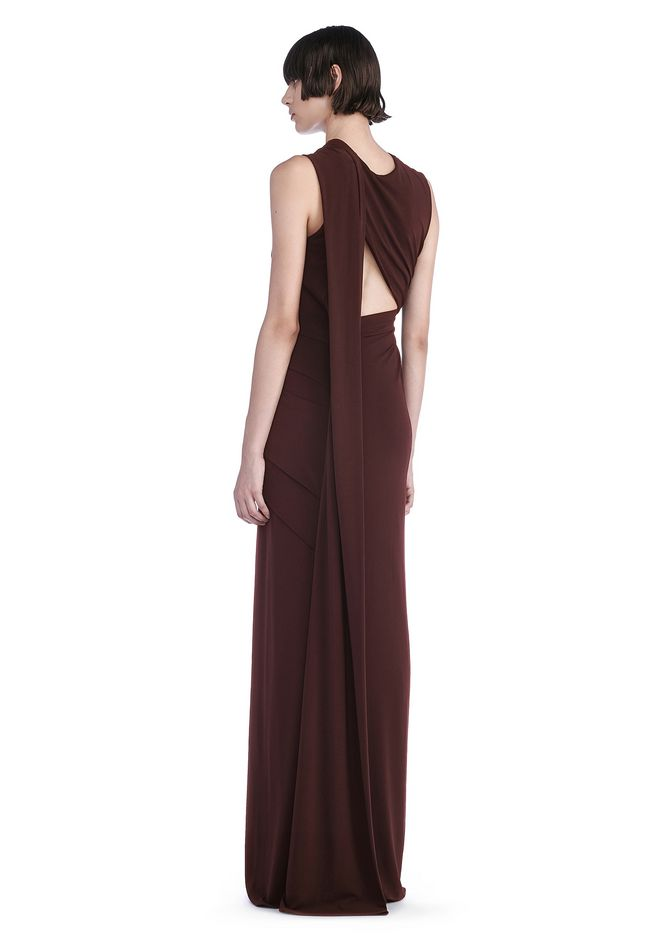 Alexander Wang ASYMMETRIC DRAPED GOWN WITH BACK CUT OUT 3/4 ...