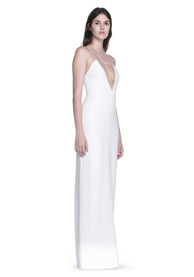 Alexander Wang V Neck Slip Gown With Sheer Insert Long Dress