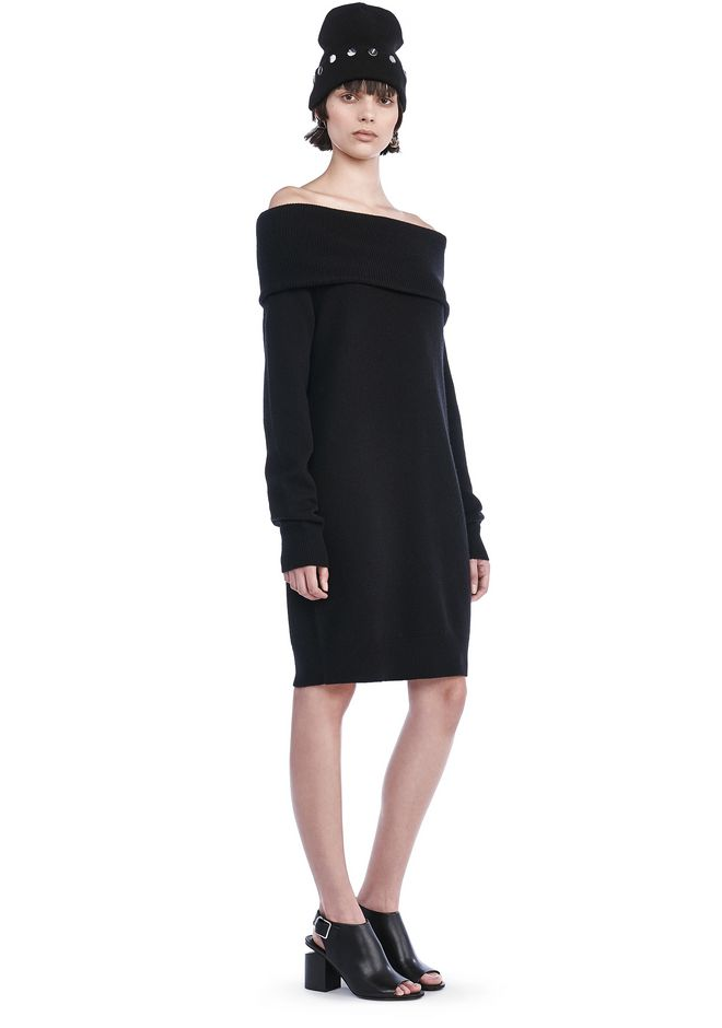 T by ALEXANDER WANG CASHWOOL KNIT OFF THE SHOULDER PULLOVER DRESS  KNIT DRESS Adult 12_n_f