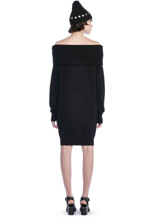 T by ALEXANDER WANG CASHWOOL KNIT OFF THE SHOULDER PULLOVER DRESS  KNIT DRESS Adult 12_n_r