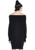T by ALEXANDER WANG CASHWOOL KNIT OFF THE SHOULDER PULLOVER DRESS  KNIT DRESS Adult 8_n_d