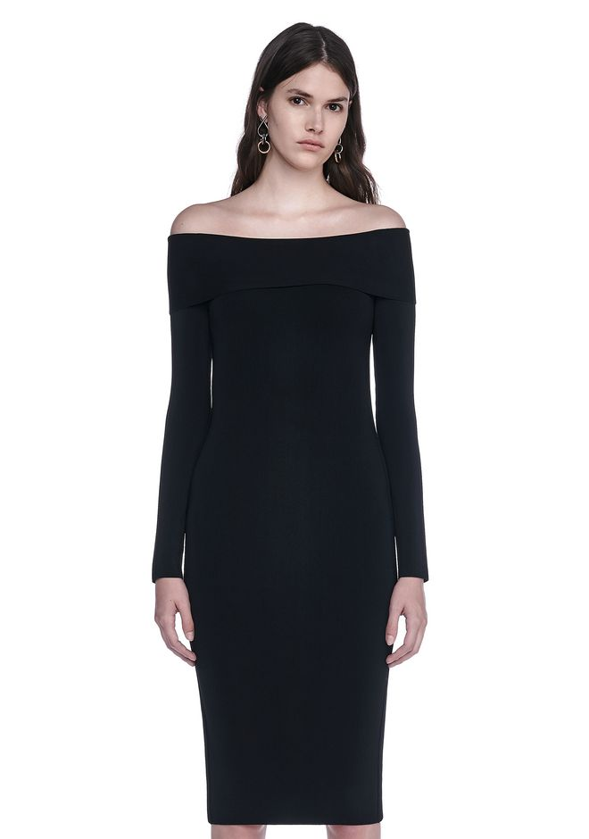 off-shoulder fitted dress - Black Alexander Wang Outlet Professional Sale With Credit Card Cheap High Quality jz7xVeP