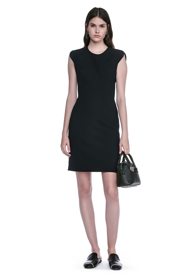 ALEXANDER WANG FITTED PENCIL DRESS WITH CAP SLEEVE  AND CONTOURED SEAMS 3/4 length dress Adult 12_n_f