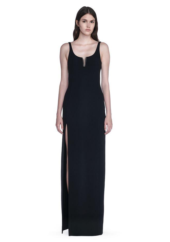 ALEXANDER WANG EXCLUSIVE COLUMN GOWN WITH HIGH SLIT AND PIERCING INSERT Long dress Adult 12_n_e